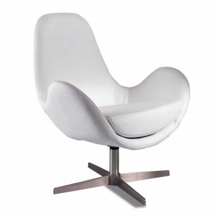 Čalouněné a otočné kožené křeslo do obývacího pokoje, moderní design - Gajarda