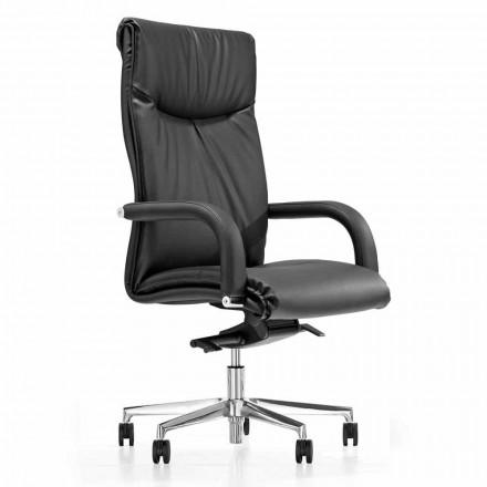 Prezidentská kancelářská židle s černými umělohmotnými koženými koly - Tomomi