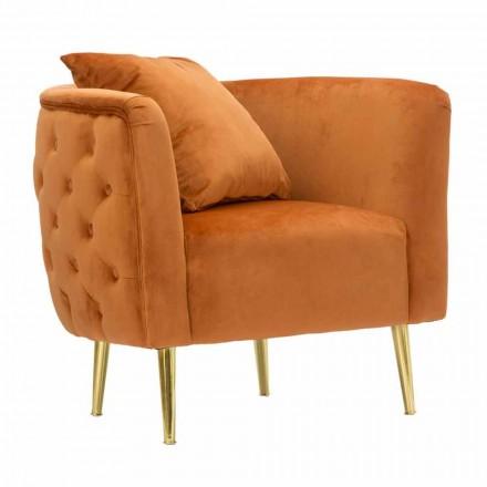Křeslo do obývacího pokoje v moderním designu ze sametu, dřeva a železa - Ruthie