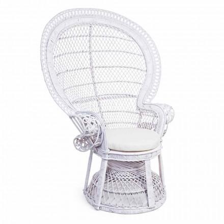Luxusní designové křeslo v bílém ratanu pro venkovní - Serafina