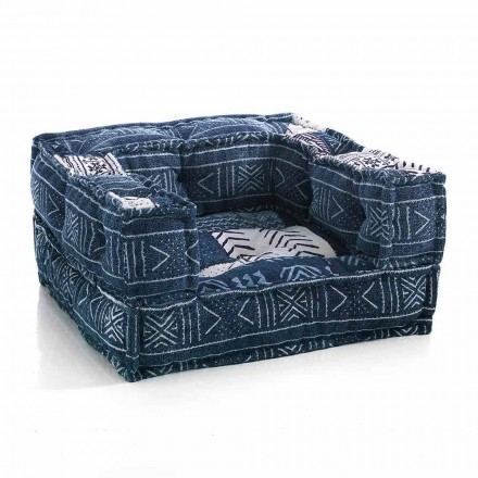 Ethnic Lounge Armchair v Patchwork Fabric nebo Velvet - Fiber