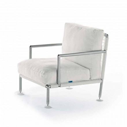 Moderní designové křeslo z oceli a černé nebo bílé PVC pro venkovní použití - Ontario2