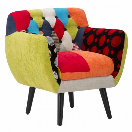 Moderní designové barevné patchworkové křeslo z látky a dřeva - Koria