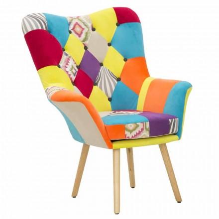 Moderní designové patchworkové křeslo z látky a dřeva - Karin