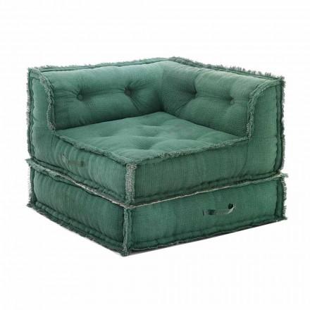Rohové křeslo Chaise Longue v šedé, zelené nebo modré bavlně - vlákně