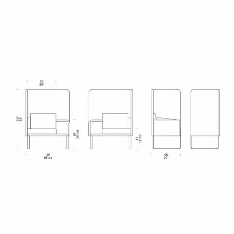 Barevné izolované polstrované křeslo s tabletem a úložným prostorem - mise