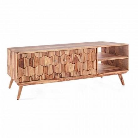 Dřevěný televizní stojan v retro designu s ocelovými knoflíky Homemotion - Ventador