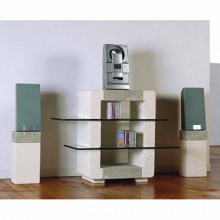 Hi-Fi televizní stojan ve Vicenza Stone a krystaly, ručně vyřezávaný Xeni