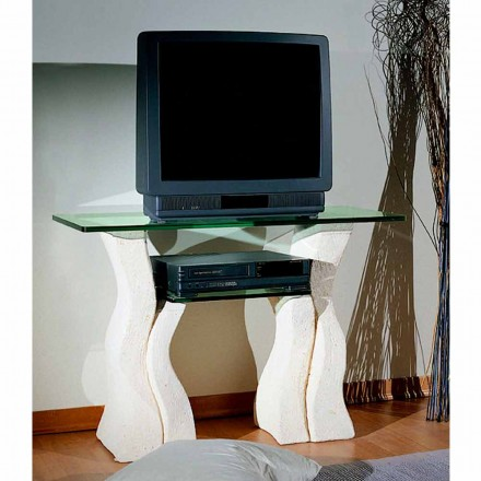 Televizní stojan ve Vicenza Stone a ručně vyřezávaný křišťál Khloe