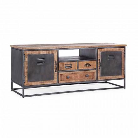 Televizní stojan v průmyslovém stylu v provedení Mango Wood and Steel Homemotion - Rupia