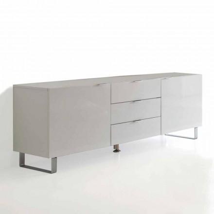 Porta moderní tv se 3 zásuvkami a 2 dveře Saffo, bíle lakovaný