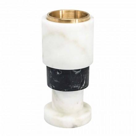 Držák svíček z mramoru a mosazi s nízkým bicolorem vyrobený v Itálii - Brett