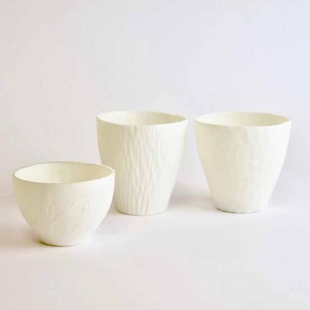 Designový svícen ze zdobeného bílého porcelánu 3 kusy - Arcireale