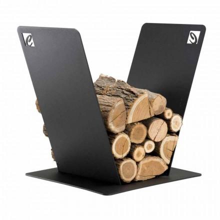 Držák na dřevo pro moderní krb v černé oceli Vyrobeno v Itálii - Vespero