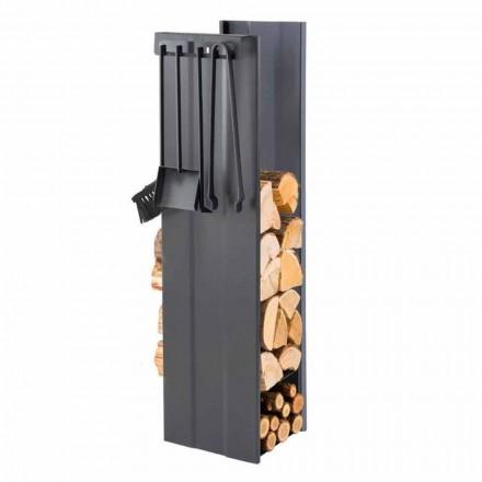 Designový držák palivového dřeva se 4 interiérovými nástroji vyrobenými v Itálii - Janet