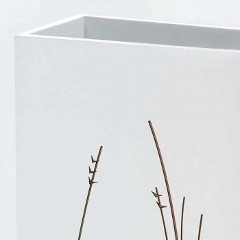 Bílý deštník stojan v dekorovaném dřevěném moderním designu obdélníkový - filigrán