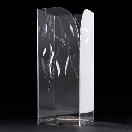 Designový deštník v průhledném plexiskle s gravírovanými listy - Kanno