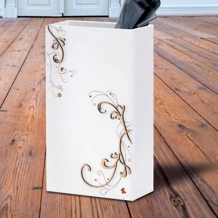 Moderní elegantní deštník stojan v tmavém nebo bílém dřevě s dekoracemi - poezie