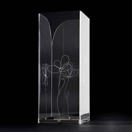 Průhledný plastový deštník s gravírovanými stylizovanými listy - Florino