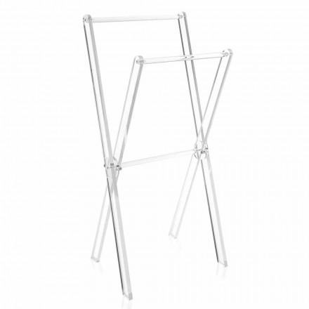 Designový stojan na ručníky v průhledném plexiskle nebo se dřevem - Stendio
