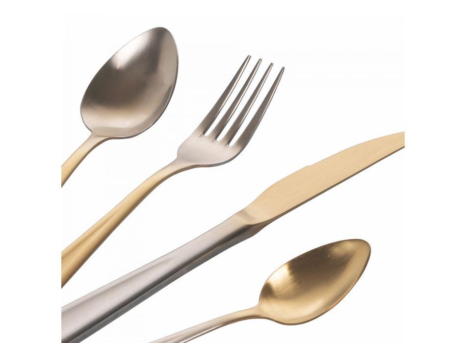 24 -dílný zlatý a stříbrný matný nerezový příbor - posh