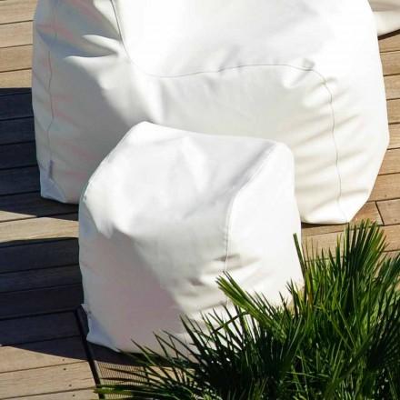 Pouf Cloud Trona design v bílé lodní koženkou vyrobené v Itálii