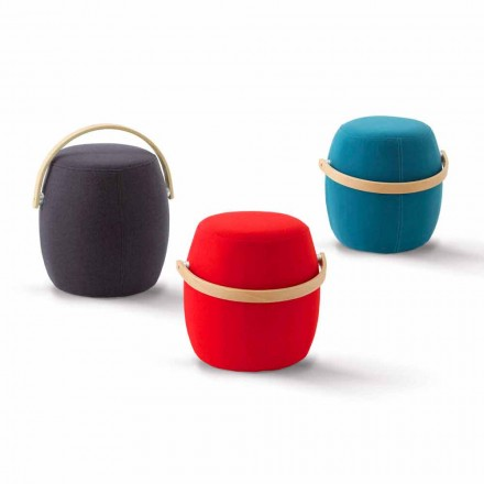 Pouf s rukojetí z barevné tkaniny vyrobené v Itálii Foligno