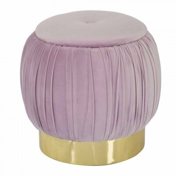 Moderní design Barevný pouf ve dřevě a tkanině - Jenna