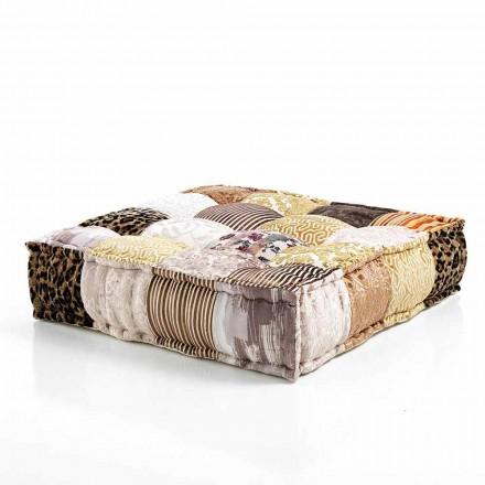 Ethnic Square Pouf v Patchwork Fabric nebo Velvet - Fiber