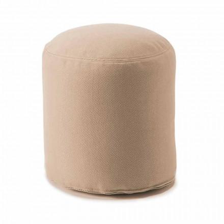 Měkký kulatý pouf pro vnitřní nebo venkovní obývací pokoj v barevné látce - Naemi
