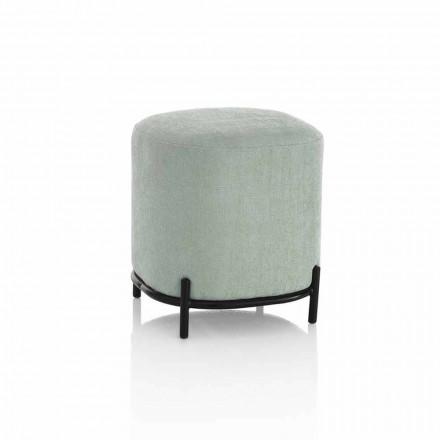 Kulatý pouzdro do obývacího pokoje v moderním designu v zelené nebo šedé látce - Ambrogia
