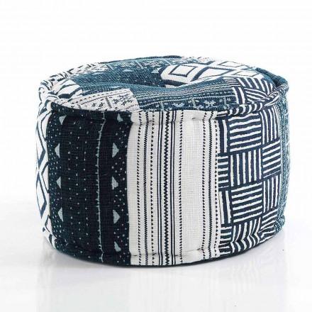 Kulatý pouf etnického designu v Patchwork Fabric nebo Velvet - Fiber