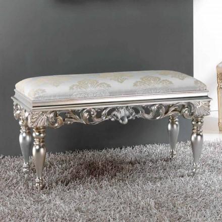 Pouf noční klasický design se stříbrným povrchem Zorn