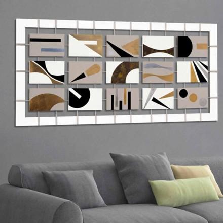 Abstraktní rám s patnácti panely zavěšenými na lane Craig