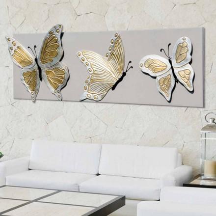 Moderní obraz s třemi reliéfními motýly zdobenými rukama Stephenem