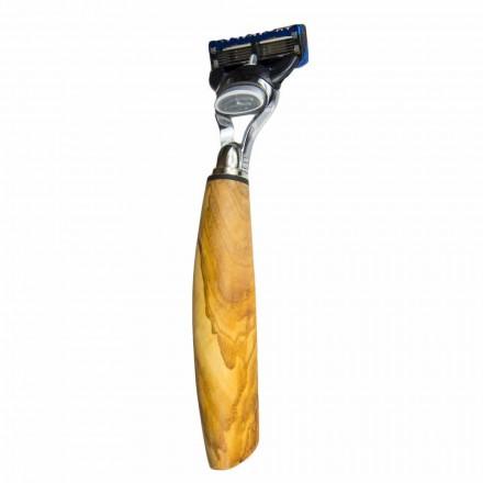 Ruční holicí strojek na holení v olivovém dřevě nebo v rohu vyrobený v Itálii - Rabio