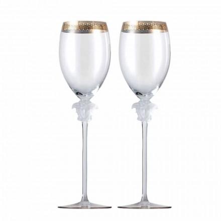 Rosenthal Versace Medusa D'Or 4 šálky bílé sklenice na víno
