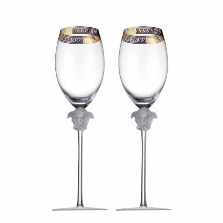 Rosenthal Versace Medusa D'Or 4 šálky červené víno sklo