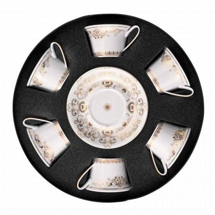Rosenthal Versace Medusa Gala zlato nastavit porcelánové šálky čaje 6ks