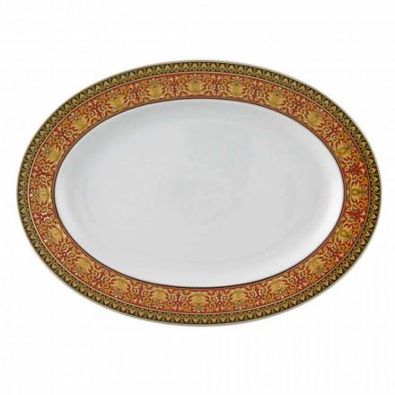 Rosenthal Versace Medusa Red oval konstrukce porcelánové misky
