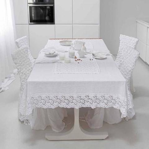 Běžec bílého stolu s háčkovanou krajkovou výšivkou a okrajem bavlněné směsi - Giangi