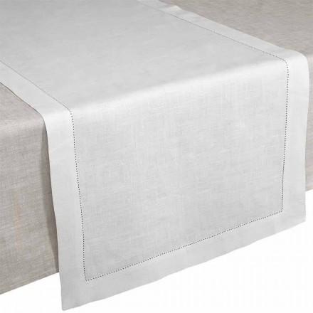 Stolní běhoun v krémově bílém čistém prádle vyrobený v Itálii - Chiana