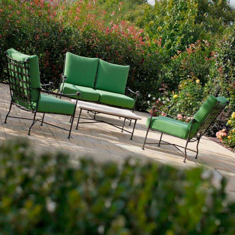 Artisan Outdoor Living Room in Iron Graphite Finish Made in Italy - Lietta