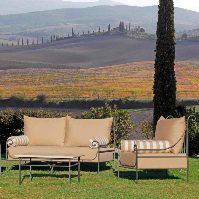 Řemeslný zahradní salonek se železnou strukturou vyrobený v Itálii - Lisotto