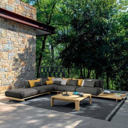 Zahradní salonek s poufem a konferenčním stolkem ze dřeva a látky - Argo od Talenti