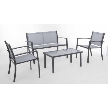 Zahradní salonek z bílé nebo šedé oceli a designového textilu - kostra