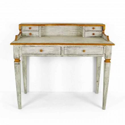 Ručně psaný psací stůl z masivního dřeva se zásuvkami Made in Italy - Amela