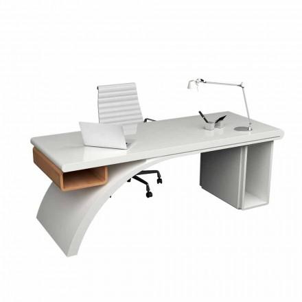 Kancelářský stůl ze dřeva a Solid Surface Bridge, vyrobený v Itálii