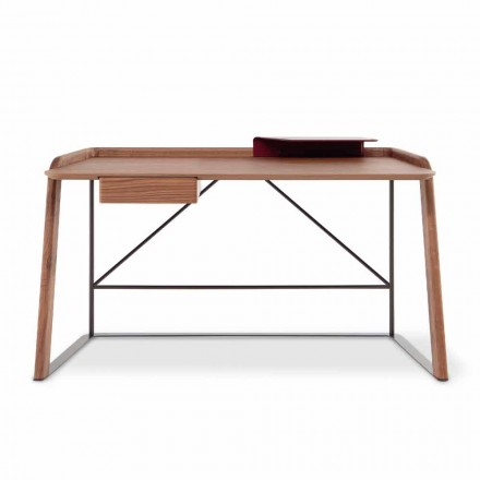 Kovový designový stůl s dřevěnou deskou vyrobené v Itálii - Bonaldo Scriba