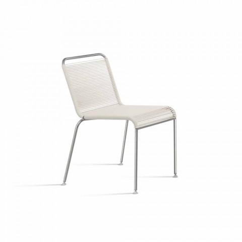 Bílý design venkovní židle z oceli a PVC Vyrobeno v Itálii - Madagaskar
